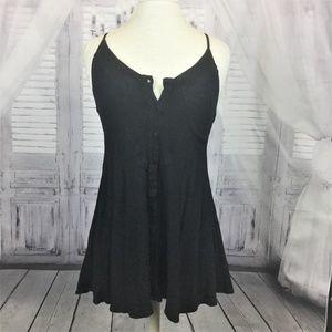 LuLu's Black Dress Button Front Sleeveless XS
